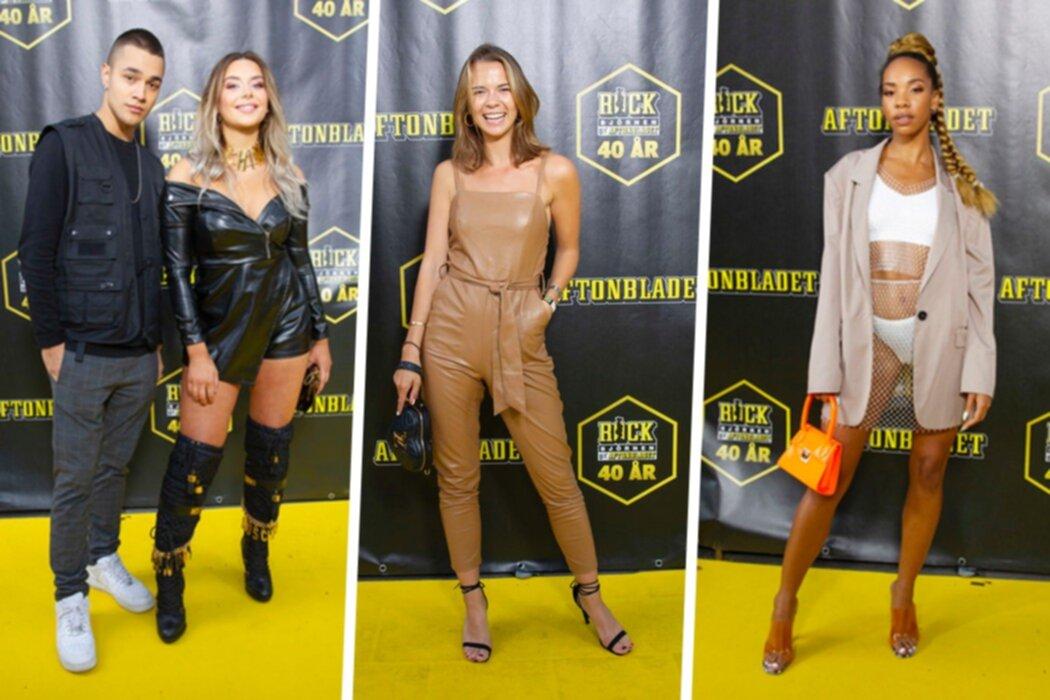 Se kändisarnas outfits från röda mattan på Rockbjörnen 2019