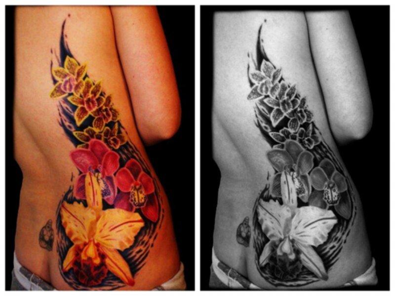 tatuering färg eller svart