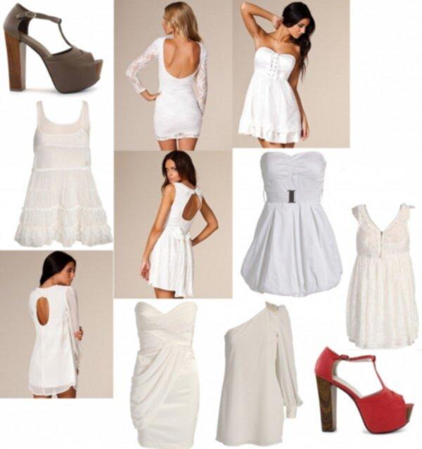 snygga vita klänningar